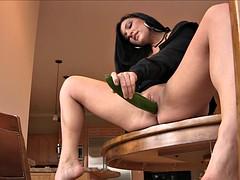 Hot mature brunette - big dildo and deep cucumber