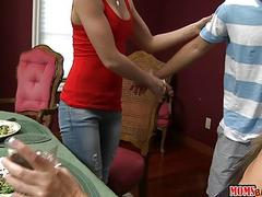 Stepmom and teen shared BFs hard cock