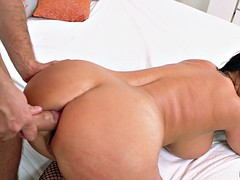 holly halston takes his dick in her ass and police baton in her cunt
