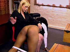 pretty black girl spanked by her and him