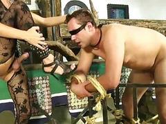 Blonde tranny dominatrix pounds her male slave's tight little ass