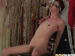 Restrained twink facialized after anal slamming from smoker