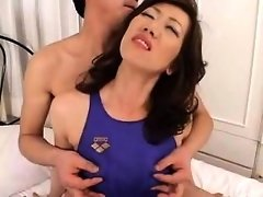 Lustful Japanese milf with long legs gets her hairy beaver