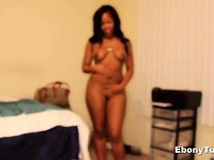 Hot ebony gives handjob and tit fuck - EbonyTugs