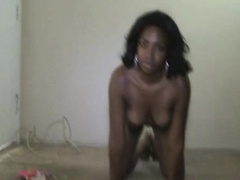 Big tit ebony MILF gives a POV blowjob