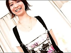 Tall skinny Japanese girl in satin lingerie