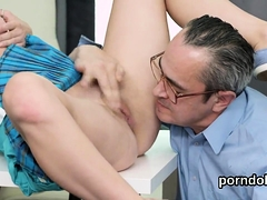 Ideal college girl gets seduced and nailed by her older teac