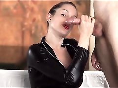 Sexy lipstick blowjob from a hottie in a catsuit