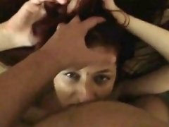 Amateur redhead sucks tons of cocks