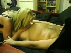Insatiable blonde is excited to swallow a throbbing love ro