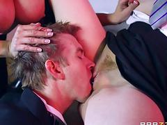 Busty pornstar and redhead cutie 3some
