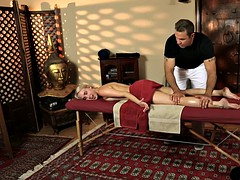 Customer pretty blonde lux cadence pounded by her masseur