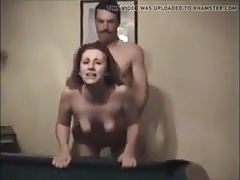 Hotwife Fucked by Husbands friend over a pool table part 1