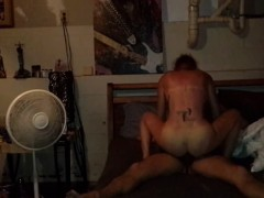 Slutty girl gets banged by two two neighbors