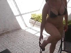 European Brunette Gets Fucked In Her Backyard