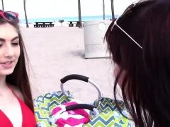 Beach babes Gina Valentina n Kobi Brian fucked by dads