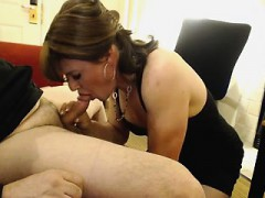 Horny MILF can't wait to take this young stud's prick in he