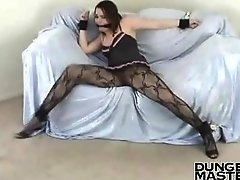 Dana Dear legs in stockings tied spread