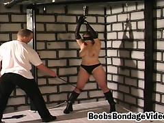 Busty bonded slave girl blindfolded whipped