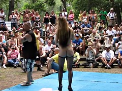 Chicago amateurs oil wrestling in the naturist
