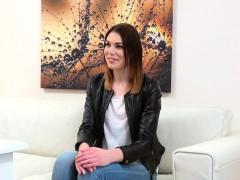Brunette gets huge cock in modelling agency