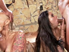 kristall rush and kayla green share cumload after hard blowjob