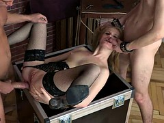 horny blonde gets fucked hard by two dudes