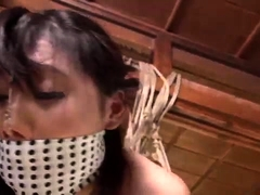 Busty Asian slut gets tied up, suspended and pounded rough