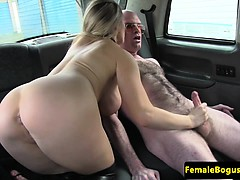 Femdom female cabbie toys her pussy