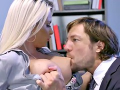 Blonde redhead milf and baby smashed hard in the office