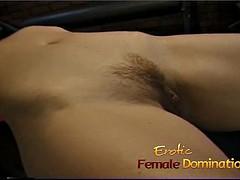 Naughty brunette bimbo lets her girlfriend in the spank her