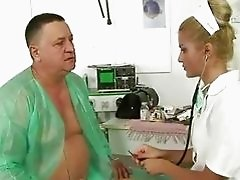 Grandpa fucking and pissing on sexy doctor
