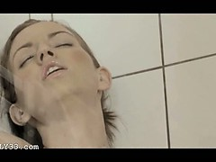Reaching orgasm in the stunning shower