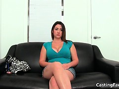 Sexy busty brunette goes to a casting part6