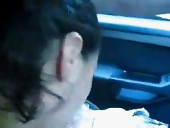 Girlfriend gives to me a blow job while i drive car